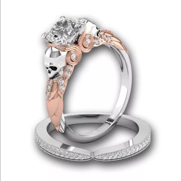 84475840d6e01 Platinum plated skull wedding engagement ring band NWT